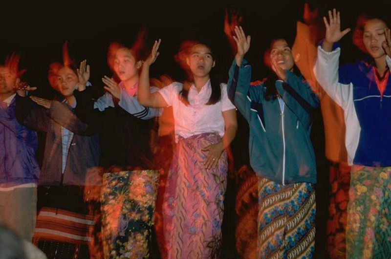 Hill tribe girls performing dance in Chiang Dao Thailand