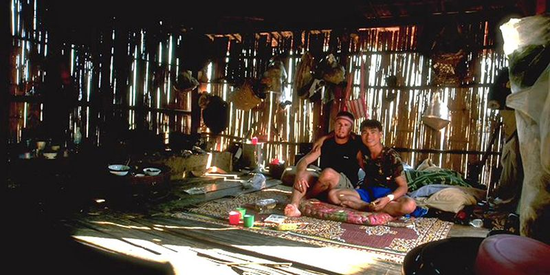 Nop and I in a hill tribe hut Chiang Dao Thailand