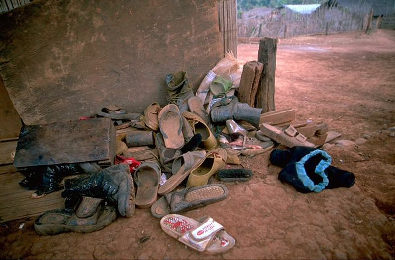 Hill tribe village shoes in Chiang Dao Thailand