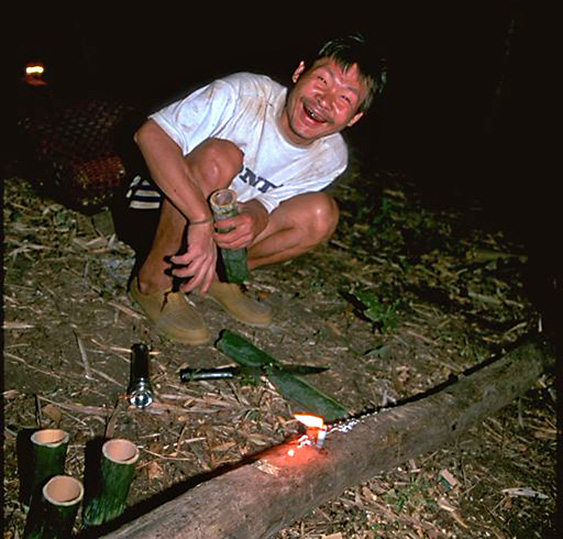 Hill tribe man laughing at the camera Chiang Dao Thailand
