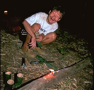 Hill tribe man laughing at the camera Chiang Dao Thailand
