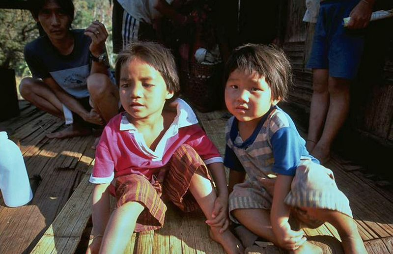 Thai hill tribe kids in Chiang Dao Thailand