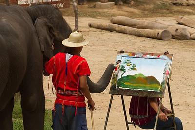 Mai Sa Elephant painting a landscape