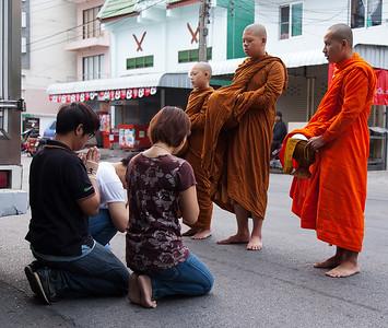 street food offering for monks