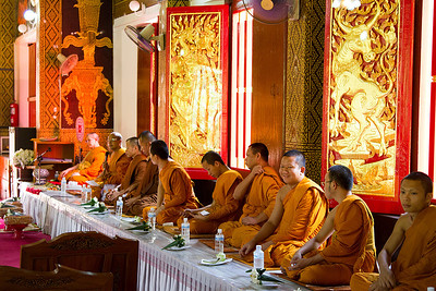 Wat Jed Wod initiation ceremony for a new Monk