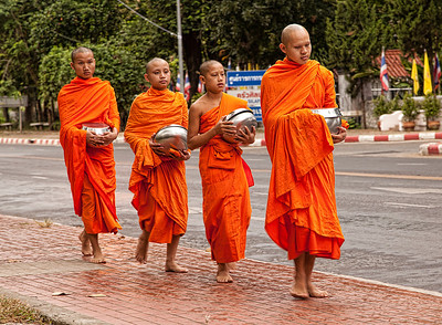 Monks going for food in the am