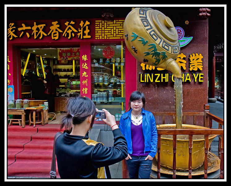 Snapshot in front of a tea store...