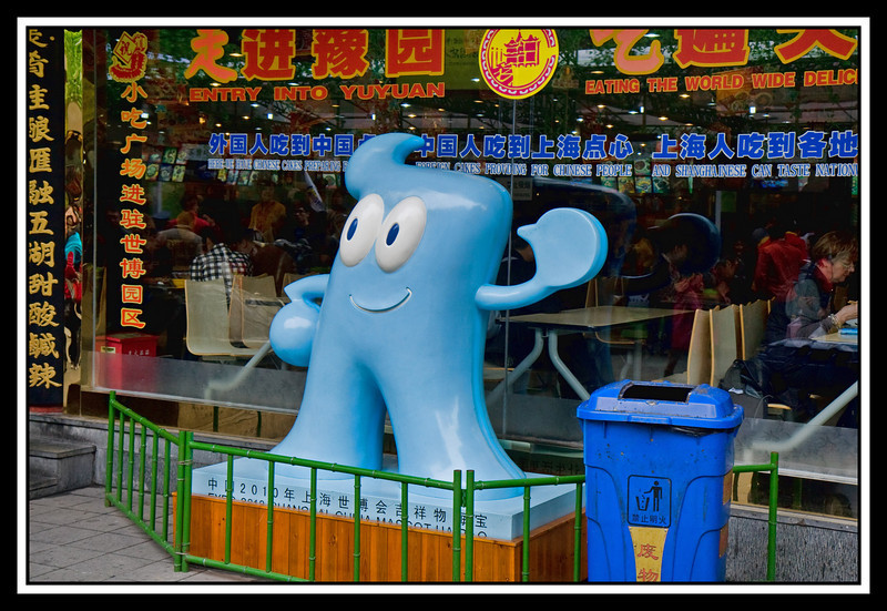"""Hai Bao"" the blue mascot of the 2010 Expo is seen everywhere..."