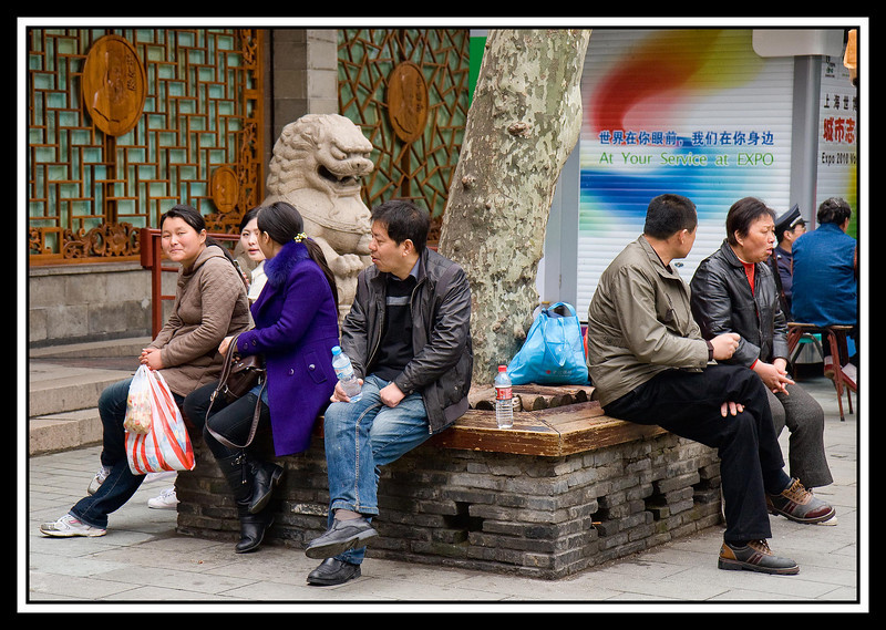 Resting while shopping near the Yu Gardens...