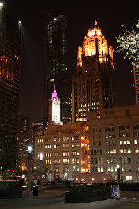 Wrigley (clock tower) and Tribune (right) buildings.