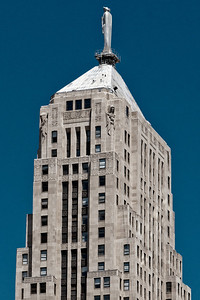 Top of the Chicago Board of Trade building, at the foot of LaSalle.  As seen from the river.  Great detail if you view the original size.  I'm amazed at the detail we used to put into buildings.