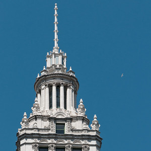 Top of the Wrigley Building, with seagull.