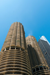 Marina City, looking up from the river.