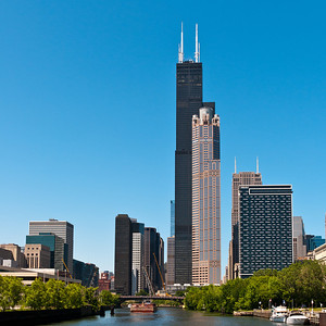 Looking back North on the river, with the Willis (nee Sears) Tower dominating.