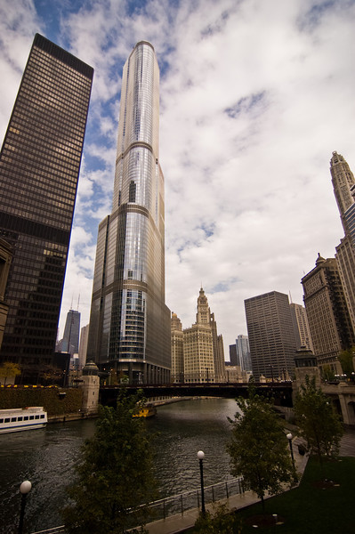 Title: Windy Views<br /> Date: November 2010<br /> The Trump Building along the Chicago River.