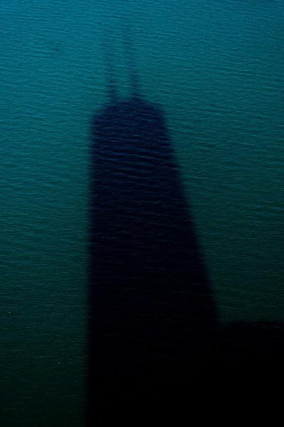Title: Big John's Shadow<br /> Date: November 2010<br /> The shadow of the John Hancock Building in Lake Michigan.