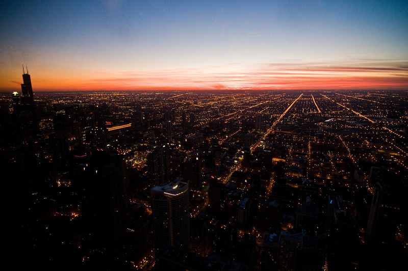 Title: Sunset From on High<br /> Date: November 2010<br /> Looking west from the observation deck of the John Hancock Building.