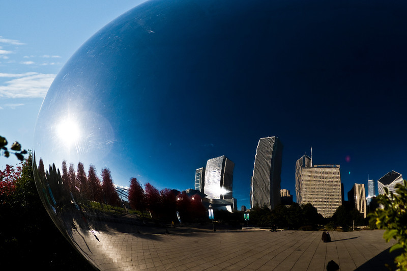 Title: Skyline Reflected<br /> Date: November 2010<br /> The Chicago skyline reflected in Cloud Gate sculpture.