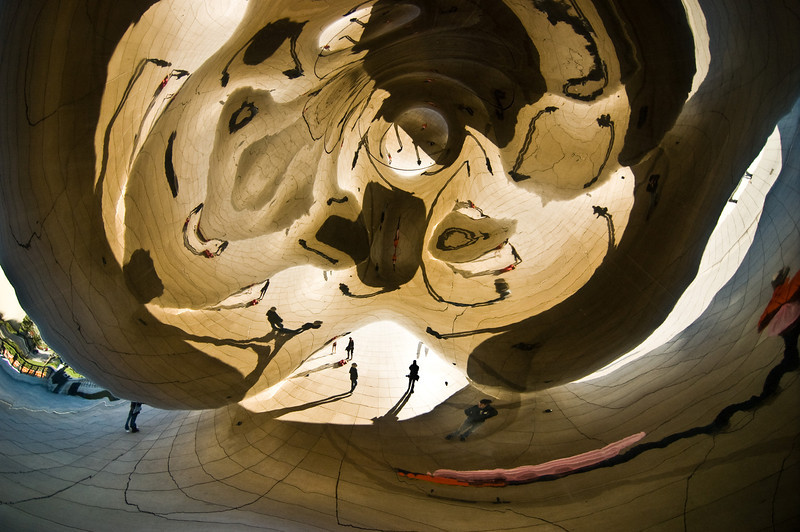 Title: The Many Reflections of Brian<br /> Date: November 2010<br /> Self portrait in the Cloud Gate sculpture.