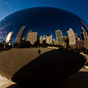 Title: Diamond Ring Reflection<br /> Date: November 2010<br /> Cloud Gate with the sun and the Chicago skyline.