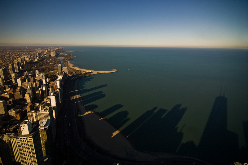 Title: Skyline of Shadows<br /> Date: November 2010<br /> From the observation deck of the John Hancock Building, looking north.