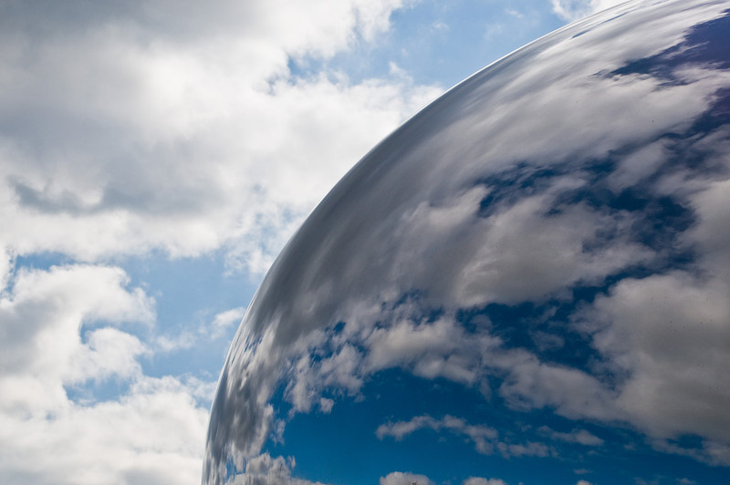Title: The Line Between Heaven and Earth<br /> Date: November 2010<br /> The daytime sky reflected in the Cloud Gate sculpture.