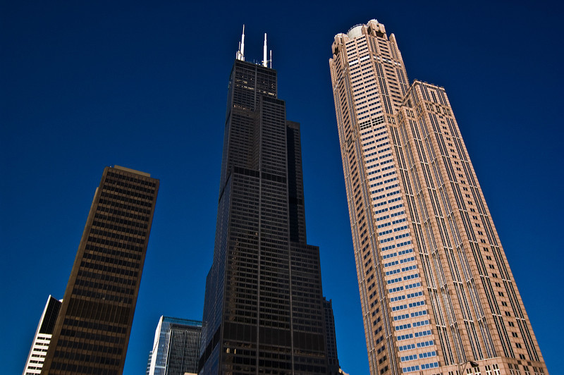 Title: Giants<br /> Date: November 2010<br /> Sears Tower and some other skyscrapers in downtown Chicago. Taken from the Chicago River during a river cruise.