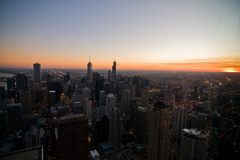 Title: Night Falls Over Chicago<br /> Date: November 2010<br /> Looking south-west from the observation deck of the John Hancock Building.