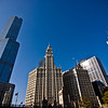 Title: North of the Chicago River<br /> Date: November 2010<br /> The Trump Tower, Wrigley Building, and Tribune Building north of the Chicago River.