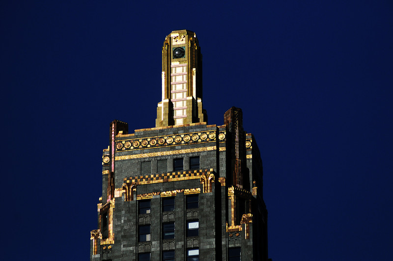 Title: Golden Spire<br /> Date: November 2010<br /> The top of one of the skyscrapers in downtown Chicago.