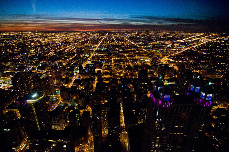 Title: South at Dusk<br /> Date: November 2010<br /> Looking west from the observation deck of the John Hancock Building.