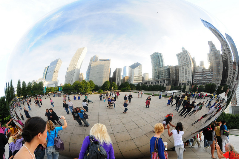 """Everyone comes to """"The Bean."""" Its popularity makes sense given our dual obsessions with looking at ourselves and other people, and taking photos.  It seems that every wedding party in town comes here for photographs."""