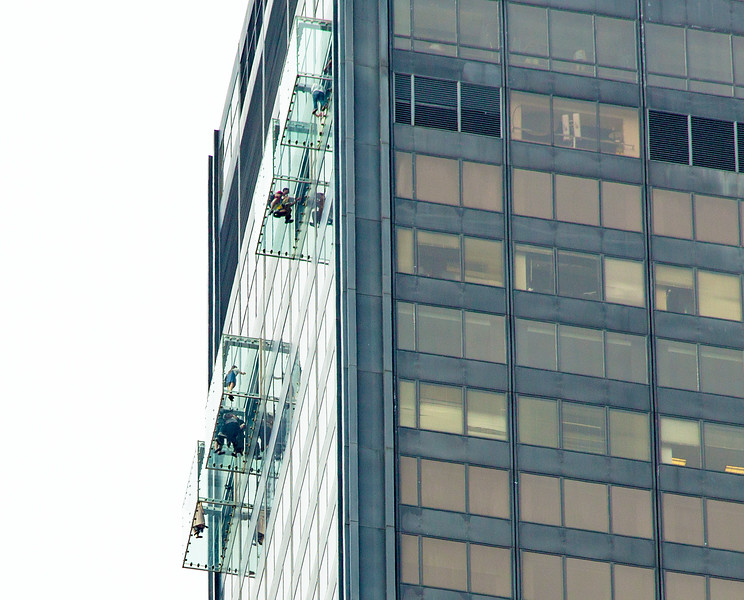 """Viewers in glass boxes 1353 feet above the street in Willis (pronounced """"Sears"""")  Tower"""