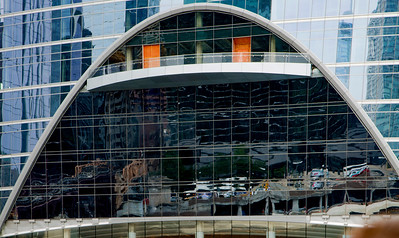Huge decorative window at the base of the River Point Building