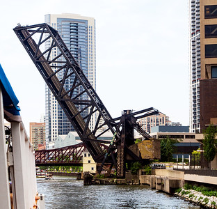 The Chicago River is crossed by many draw bridges, such as this.