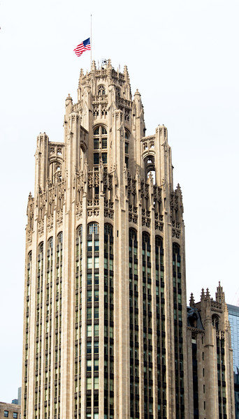The top of Tribune Tower