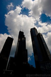 Sears Tower and other tall buildings as seen from the river