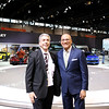 Photojournalist Ralph Hajik with Jim Rose from Channel 7 News in front of the Chevrolet Volt Exhibit at the Chicago Auto Show on Media day.