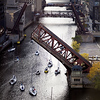 Chicago River bridges going up! - end of yachting season. Aerial photo.