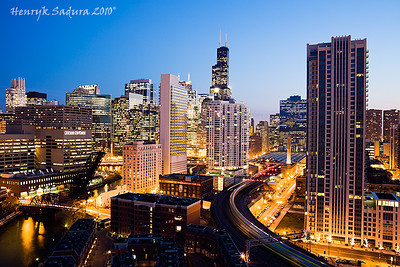 Chicago lights - downtown seen from Northwest