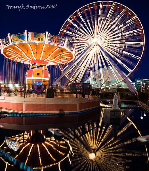 Navy Pier Wheels at sunset