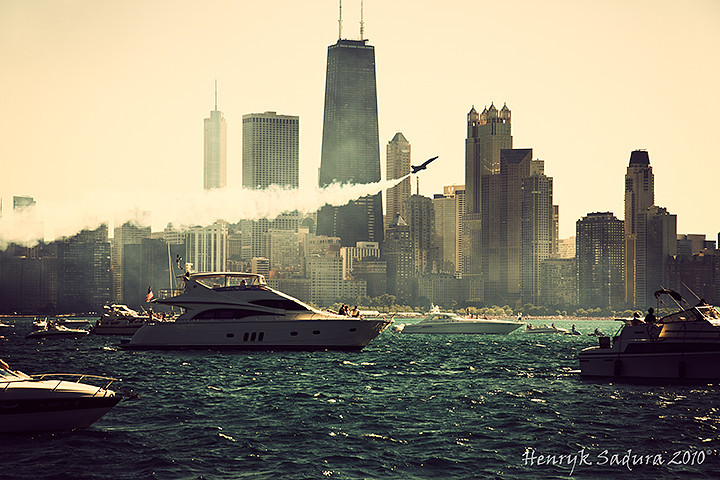 Chicago Air Show seen from Lake Michigan