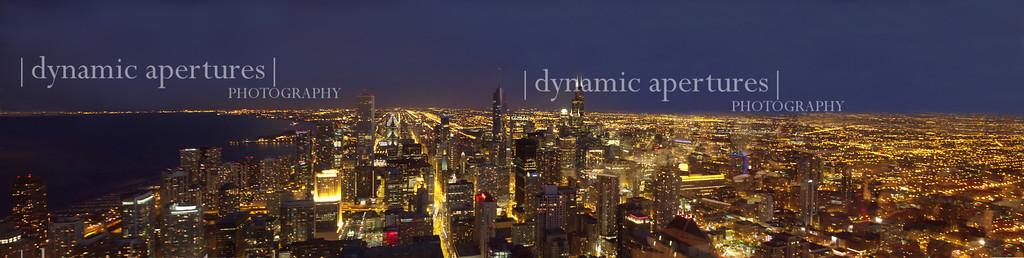 Chicago Skyline Nighttime Panorama From John Hancock Observatory
