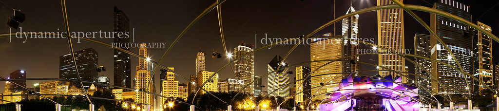 Millennium Park Chicago Skyline Nighttime Panorama