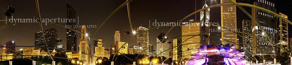Millennium Park Chicago Skyline Nighttime Panorama