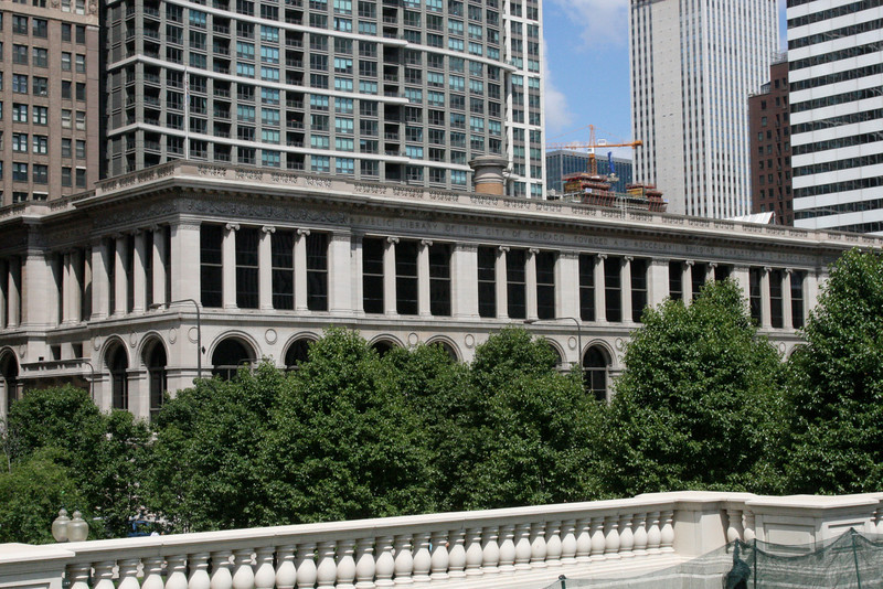 The former Chicago Public Library  from across Michigan Ave