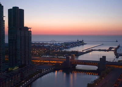 View of Lake Michigan and Navy Pier from Swissotel