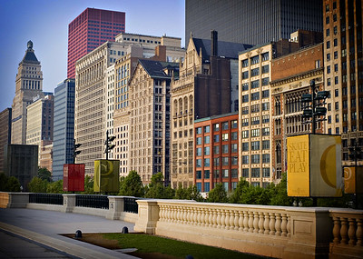 Buildings along Michigan Avenue - View from Millenium Park