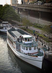 Docked boats along Wabash Avenue