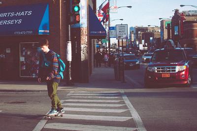 Skate Boarding in Wrigleyville